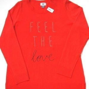 NWT! Old Navy Orange Embroidered Sweater